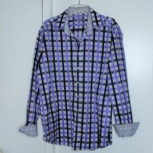 Bugatchi Purple White Plaid Button Shirt L